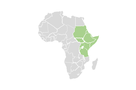 regional map of east african countries